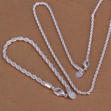 Silver plated refined luxury fashion gorgeous twisted rope necklace bracelets two piece hot selling wedding jewelry S051