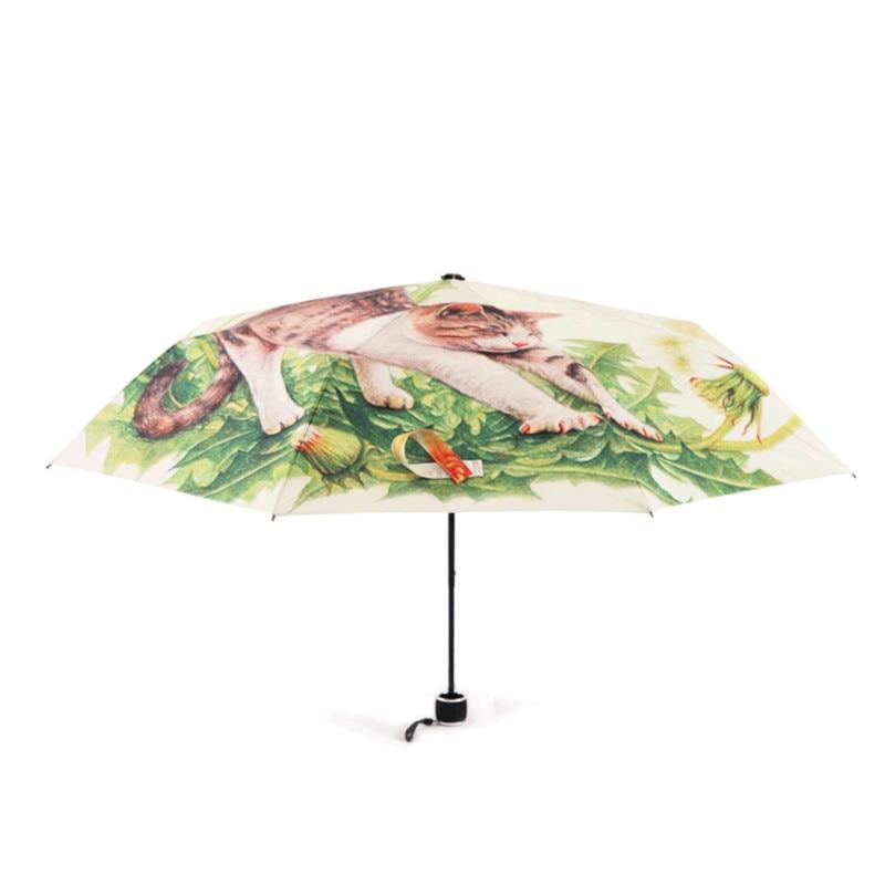 Compact Travel Umbrella Naughty Dog Sun and Rain Auto Open Close Umbrellas Portable Outdoor Folding Umbrella