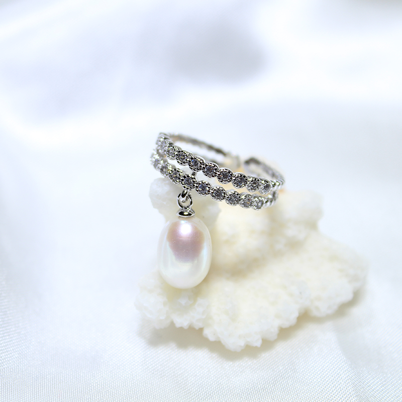 YIKALAISI 2017 Pearl jewelry Fashion 100% natural 8-9 mm Freshwater pearl rings 925 sterling silver jewelry ring wedding gifts