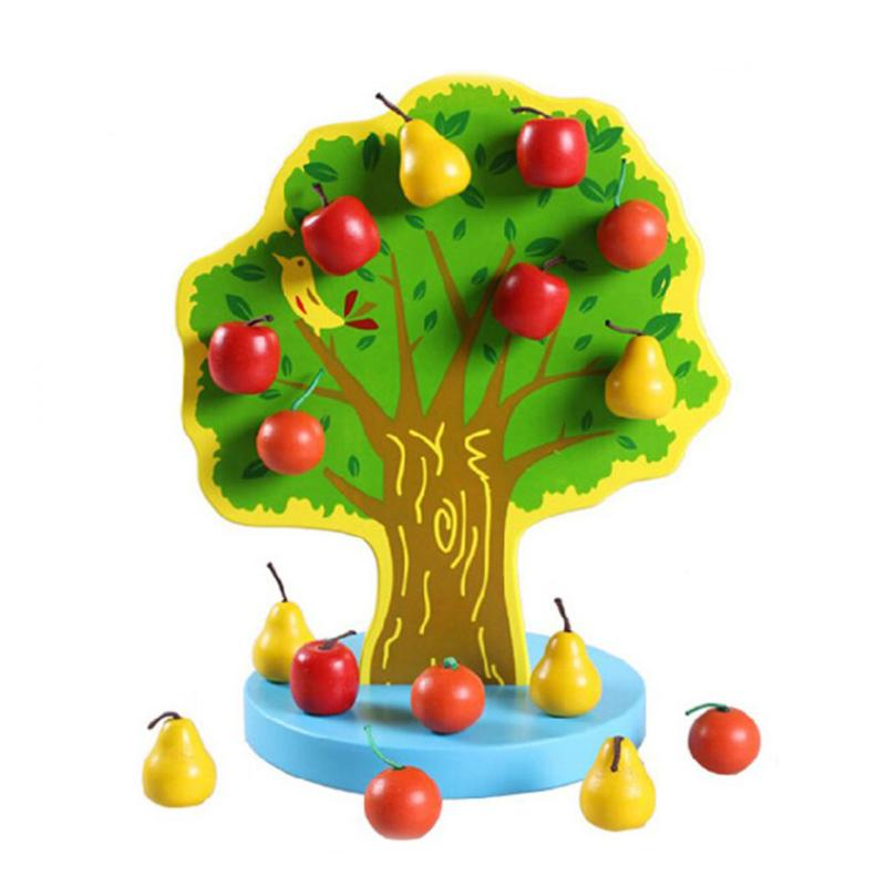 Kids Wooden Magnetic PuzzleToy Educational Montessori Orchard Fruit Tree Magnetic Apples Pears Creative Toys