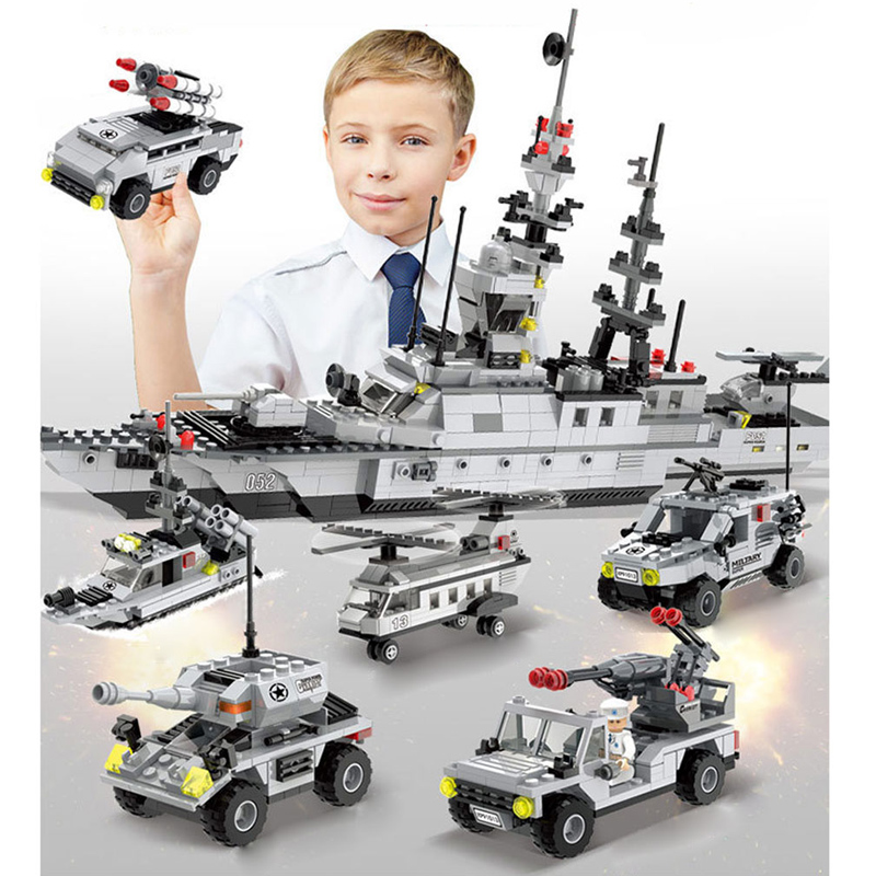 1090PCS Warship Military Building Blocks Sets Toys Boat Model Kids Gifts enlighten Birthday Gifts Military Building Blocks 7 in1 enlighten building blocks military cruiser model building blocks girls