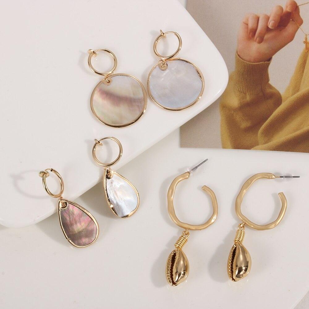 Jewelry Geometric Irregular Conch Dangle Drop Hook Ear studs Shell Earring