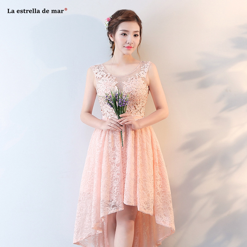 Aliexpress.com   Buy Vestido madrinha 2019 new lace diamonds back open  peach High Low bridesmaid dresses Tea Length gaun pesta dewasa Custom from  Reliable ... d55bb6681ff5