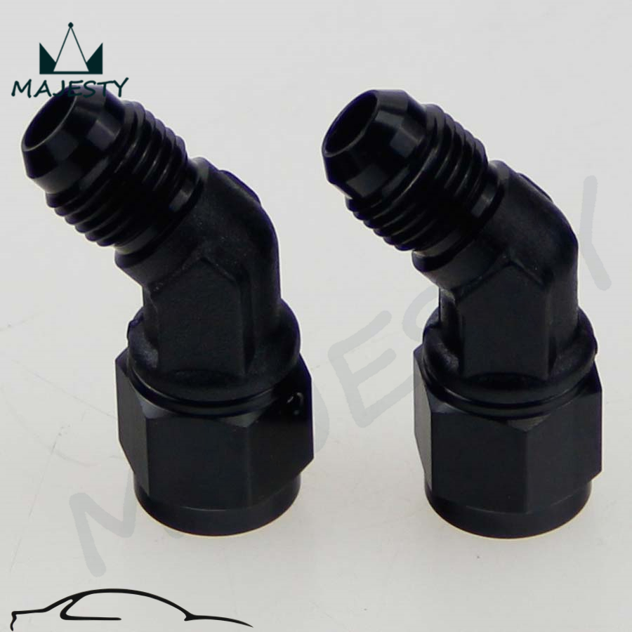 An8 8an an 8 45 degree reusable swivel ptfe hose end - 2pcs Male 8an To 8 An Female 45 Degree Swivel Coupler Union Adapter Fitting