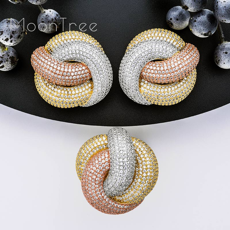 MoonTree Luxury Twist Braided Full Mirco Pink Cubic Zirconia Setting European Wedding Engagement Earring Fashion Jewelry