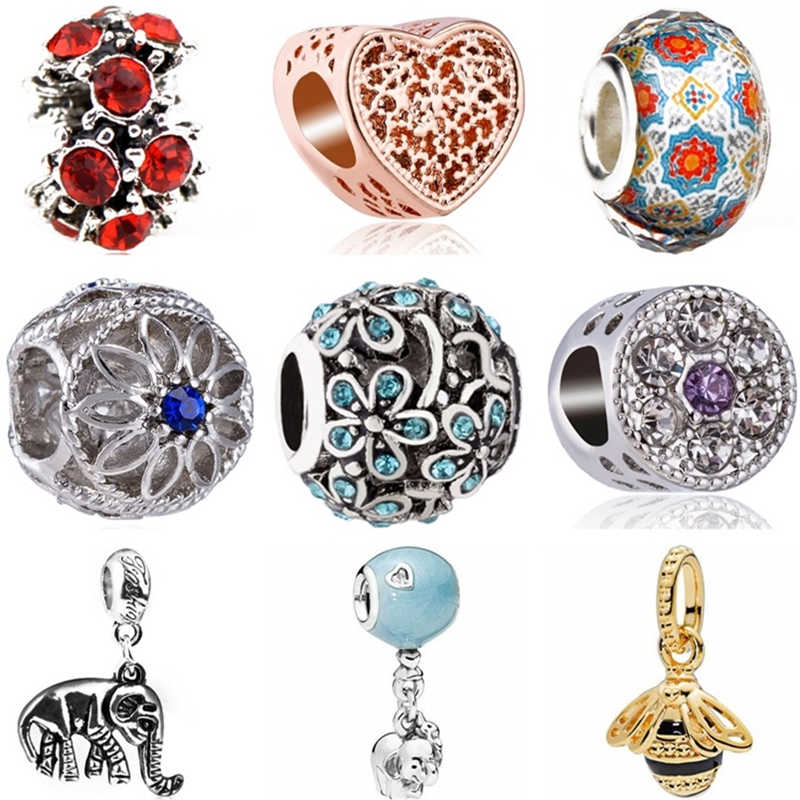 Btuamb New Fashion Crystal Heart Flower Elephant Bee Bird Charms Beads Fit Pandora Bracelets Necklaces for Women Making Jewelry