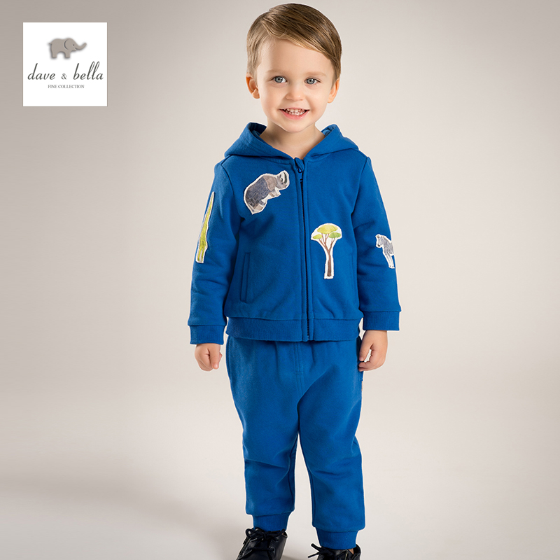 купить DB4818 dave bella spring new arrival boys navy clothing sets tiger printing sport sets недорого