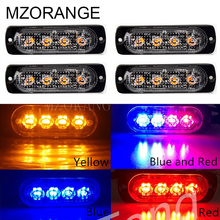 Car-Styling 4 LED Strobe Warning Light Strobe Emergency Grille Flashing Lightbar Truck Car Beacon Slim Bright Amber Red Blue vsled 8 x 4 led emergency lights grill light car truck beacon light bar flashing strobe warning amber white led lightbar