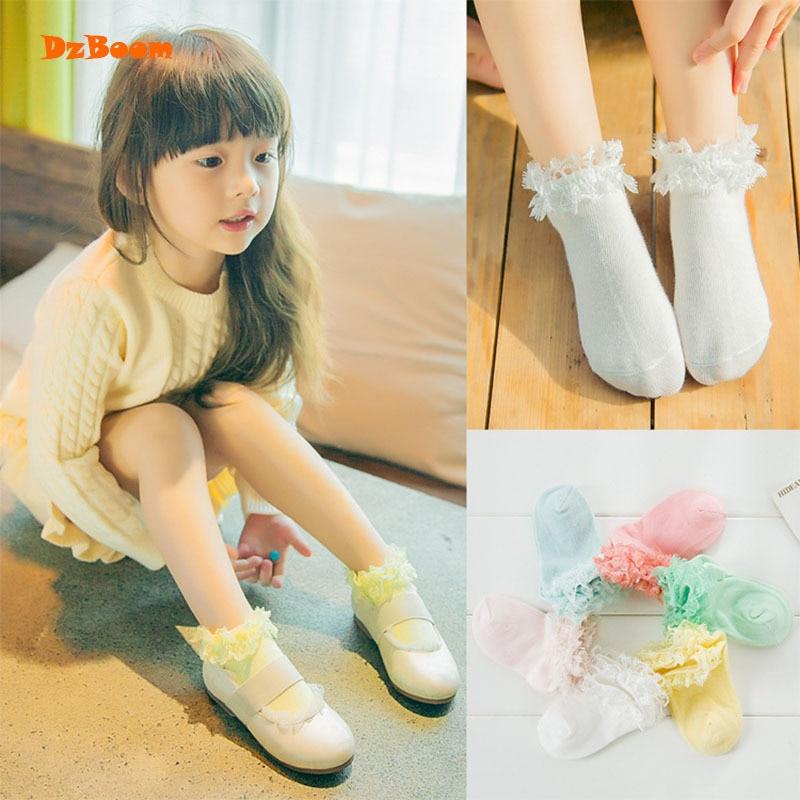 1 Pair Summer Princess Candy Colors Lace Ruffle Girls Socks New Lovely Style Kids Ankle Short Socks Children Cotton Socks