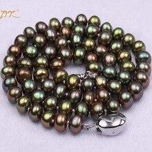JYX 6-7 мм AAA зеленое ожерелье Павлин ожерелье с плоским культивированным пресноводным жемчугом вечерние свадебные подарки матери