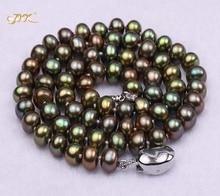 JYX Classic 7-8mm AA pava zelena ravna kultivirana sladkovodna biserna ogrlica za zabavo poročno materinsko darilo