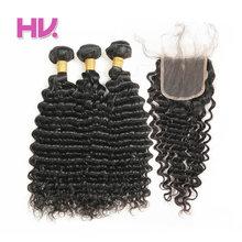 Волос вилла Реми бразильские глубокая волна с Накладные волосы 3 Связки Человеческие волосы ткань 4*4 швейцарских Синтетические волосы на кружеве с ребенком волос для салона