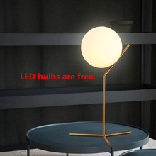 Glass Ball Table Lamp Abajur Luminaria de Mesa Lampara LED Escritorio E27 Book Light Reading Lighting Bedside Bar Cafe Desk Lamp