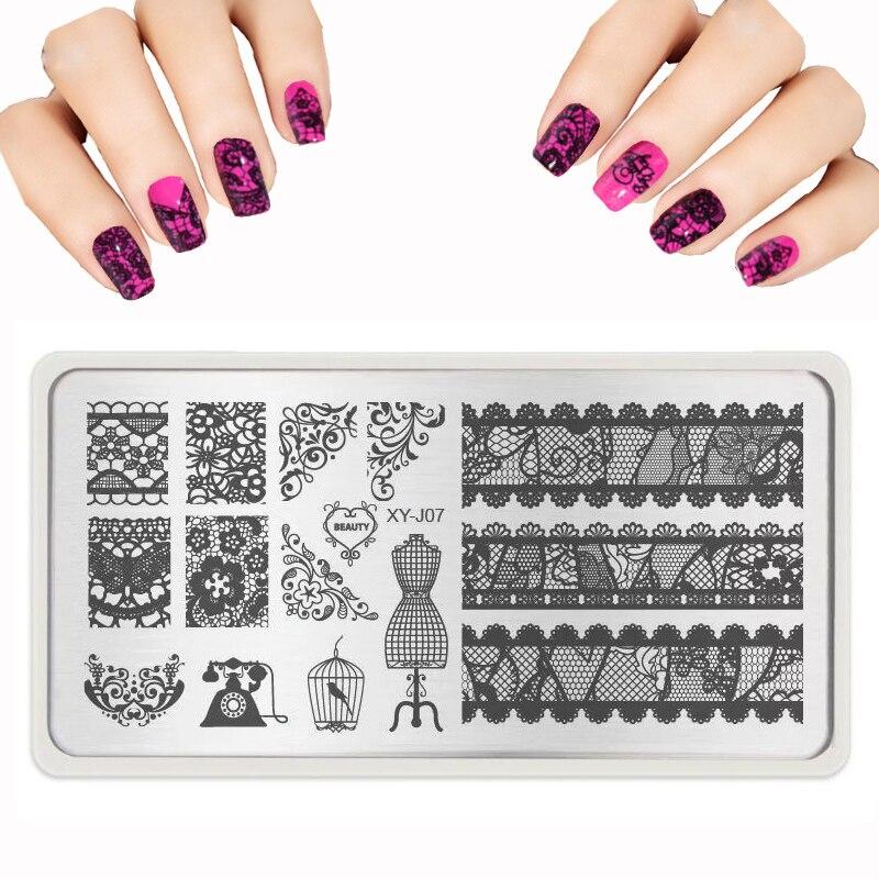 Nail Design Nya Nail Stamping Plates Lace Butterfly Crystal Pattern - Nagel konst