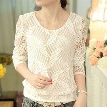 Blusa informal de manga larga con cuello redondo para primavera y verano, Camisa Blanca de encaje con agujeros para Mujer, 2019