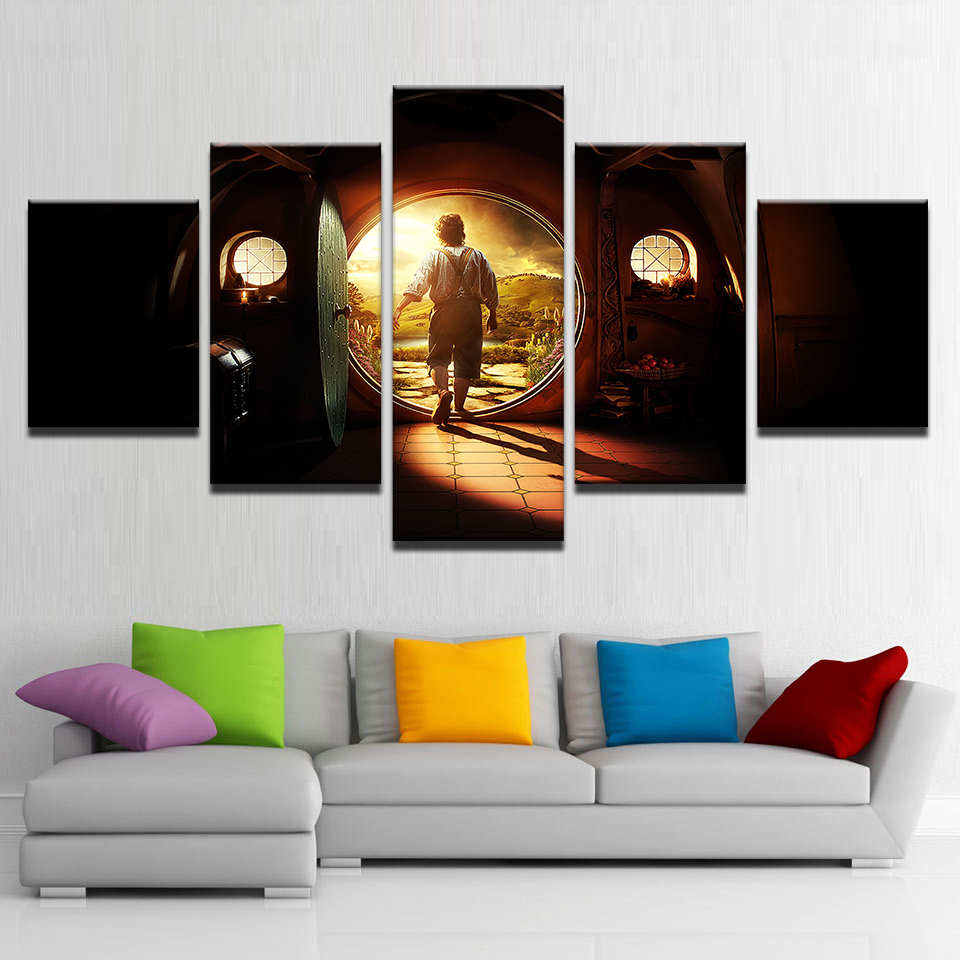 canvas pictures home decor wall art 5 pieces lord of the rings paintings living room hd prints. Black Bedroom Furniture Sets. Home Design Ideas