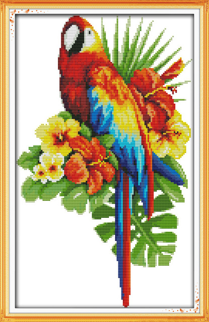 Tropical flowers cross stitch