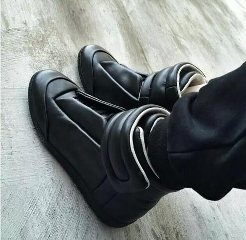 Musim gugur Mewah vogue Man Sepatu Flat Mode Tinggi Top Kulit Asli Hitam Putih Hook & Loop HipHop Man Sepatu Pelatih Kasual
