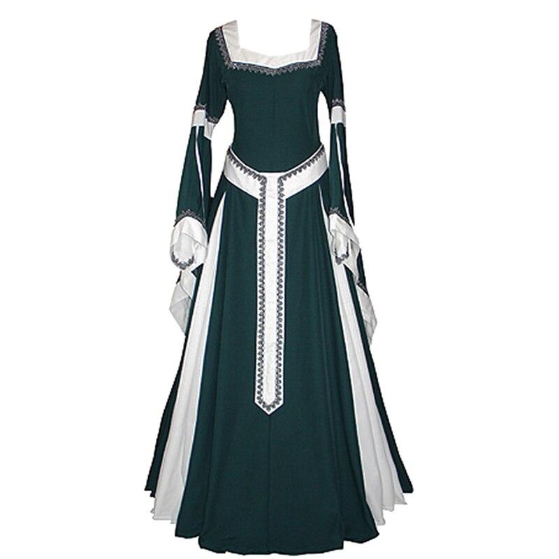 Green Renacimiento Cuadrado Retro Cuello De Victoriano Medieval Vintage  Gótico Vestido Ropa Disfraz Mujer Largo Ow0nq5 807674e00f6b