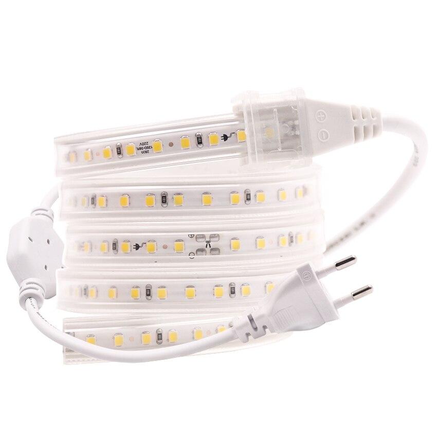 цена на 220V 2835 120LEDS/M Home Decoration Flexible Natural White Warm White Rope Ribbon Tape Light LED Strip Light