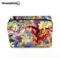 WHOSEPET Women Make Up Bag Flowers Printing Cosmetic Bag Makeup Organizer Zipper Large Capacity Travel Storage