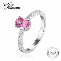 JewelryPalace 1 1ct Oval Genuine Pink Topaz Engagement Ring 925 Sterling Silver Jewelry For Women