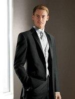 Elegant Groom's Wear Charcoal gray Notch Satin Lapel Tuxedo/Wedding Suits Best man's 3 Peices Suits( jacket+Pants+vest+tie)