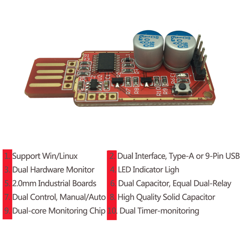 Best USB Watchdog Card Computer Timer Unattended Automatic Restart Reset Module Blue Screen Game Server BTC LTC Mining Miner-2