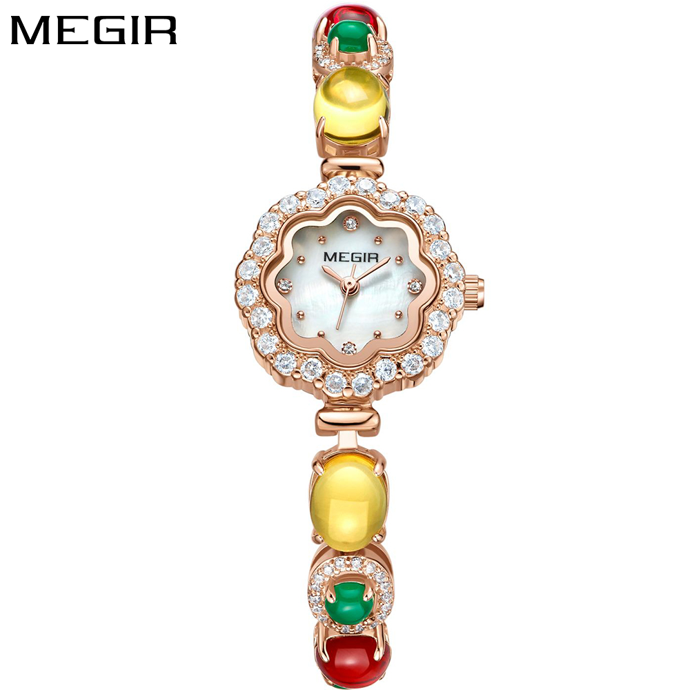 MEGIR Fashion Luxury Brand Watches Women Elegant Quartz Brass Bracelet Colorful Crystal Diamond Wrist Watch Ladies Reloj Mujer weiqin women watch brand luxury ceramic band rhinestone fashion watches ladies rose gold wrist watch quartz watch reloj mujer