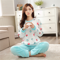 New Autumn Winter cotton Round Neck Pajamas Sets thickening women cute Floral Flannel Long sleeved trousers Indoor Clothing
