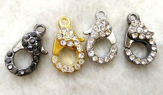 Gros 50 pcs fermoir pavé Micro cristal pavé diamant fermoirs bijoux fermoir Gunmetal argent Rose or hématite bijoux fermoirs 12- - 2