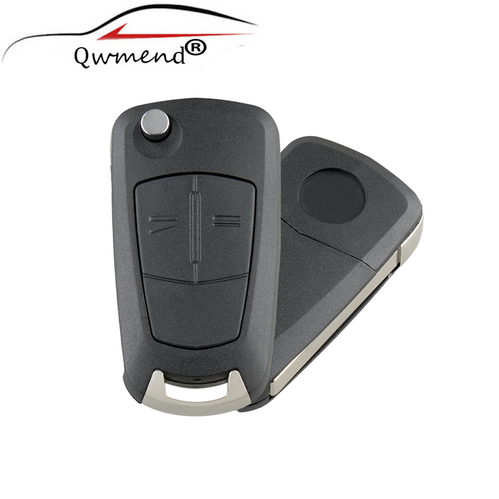 QWMEND 2Buttons Flip Remote Folding Car Key Fob Case For Vauxhall Opel  Astra H 2004-2008 Zafira B 2005-2010 Original Key Shell