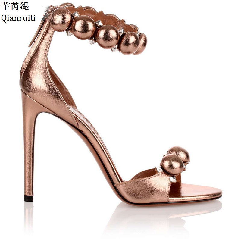 Qianruiti Rose Gold Leather Stiletto Heels Women Shoes Open Toe High Heels  Women Sandals Studded Rivet Ankle Buckle Women Pumps 35fff9a0d170