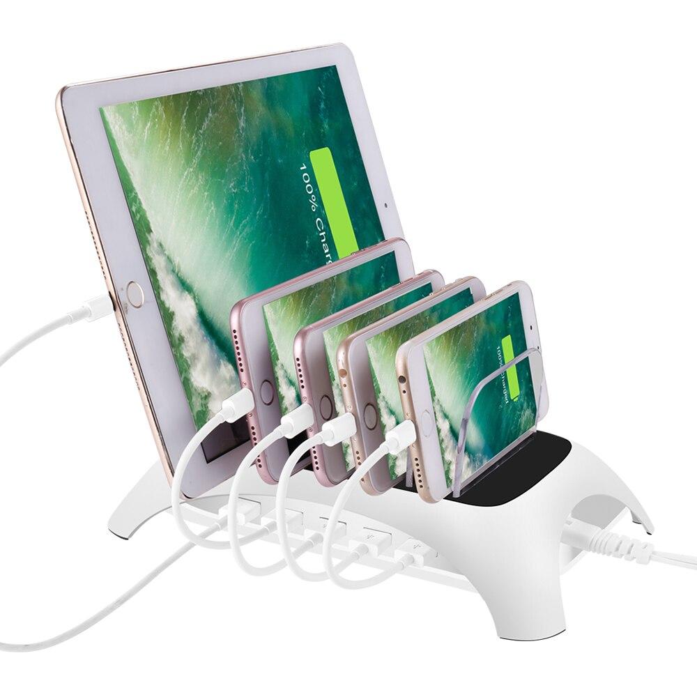 5 Ports de charge usb 2.4A rapides chargeur de bureau de support de Station de charge USB détachable universel pour tablette PC de téléphone portable