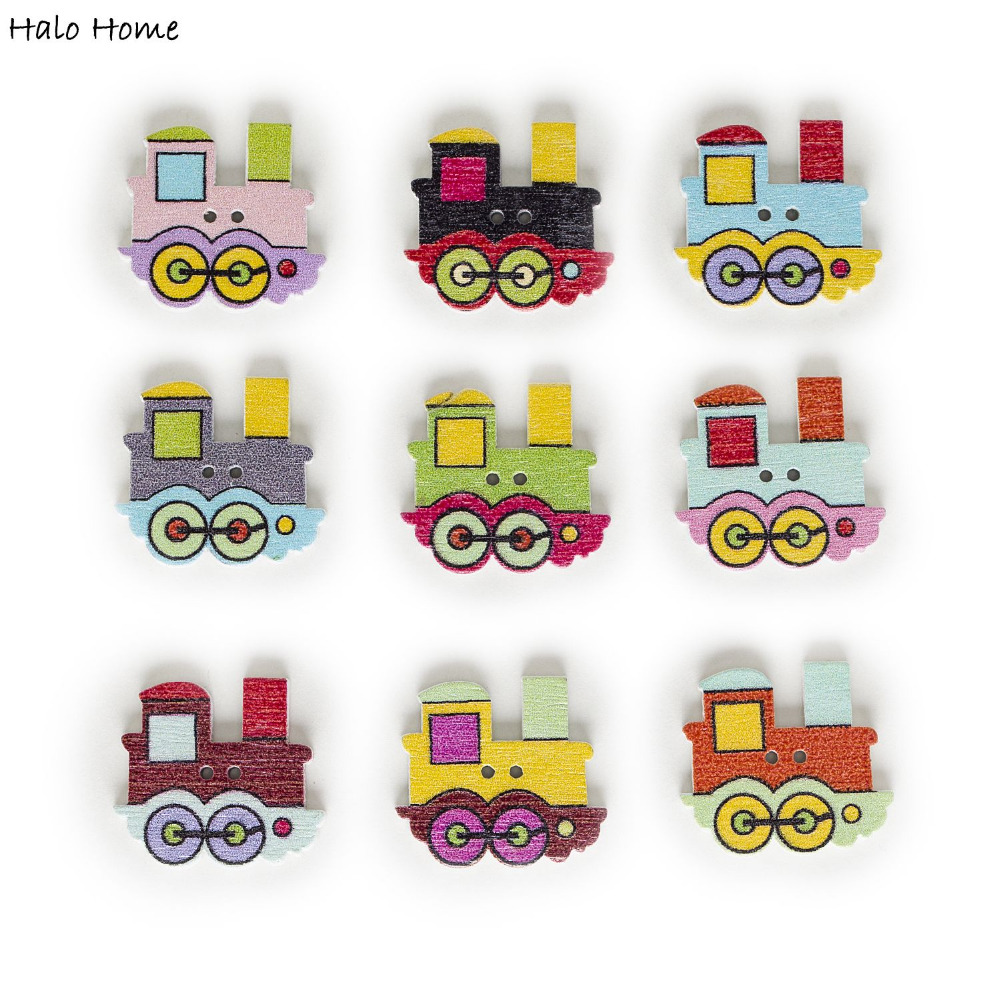 50pcs 2 Hole Mixed Railway Locomotive Cartoon Wood Buttons Home Decor Sewing Scrapbooking Crafts Clothing 25x22mm