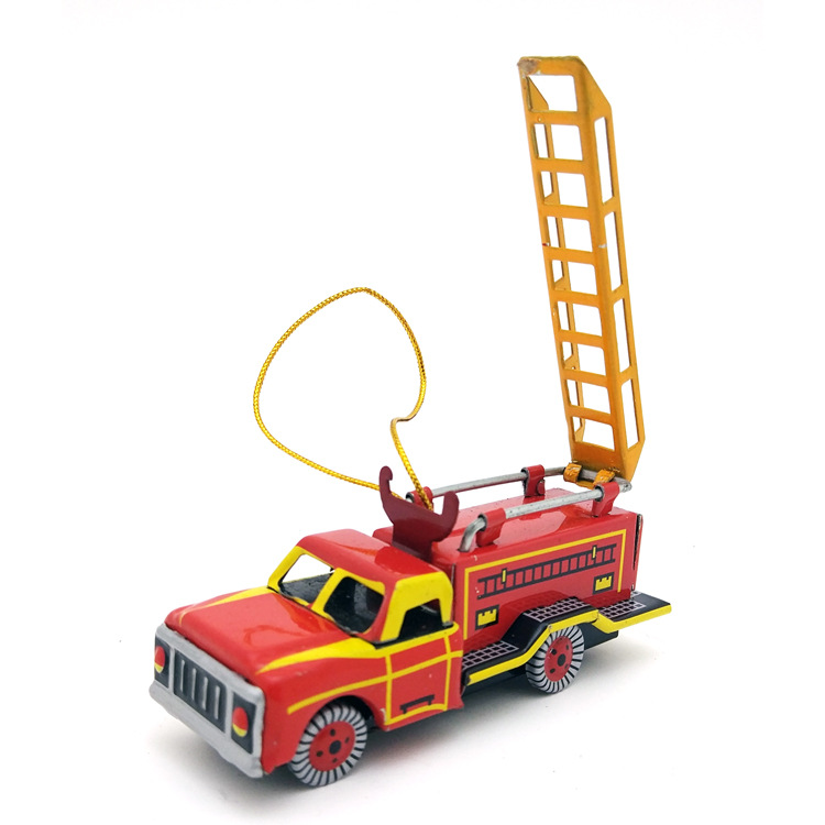 Painstaking [funny] Adult Collection Retro Wind Up Toy Metal Tin Fire Truck Scaling Ladder Car Pendant Clockwork Toy Model Vintage Toy Gift
