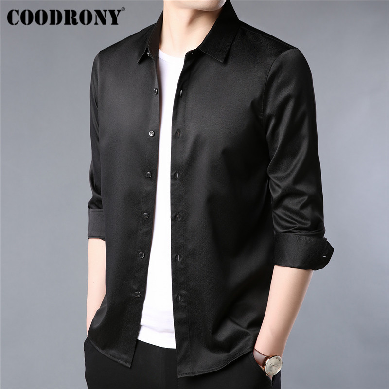 COODRONY Brand Men Shirt Autumn Clothes Business Casual Shirts Classic Black Shirt Men Long Sleeve Cotton Camisa Masculina 96051 in Casual Shirts from Men 39 s Clothing