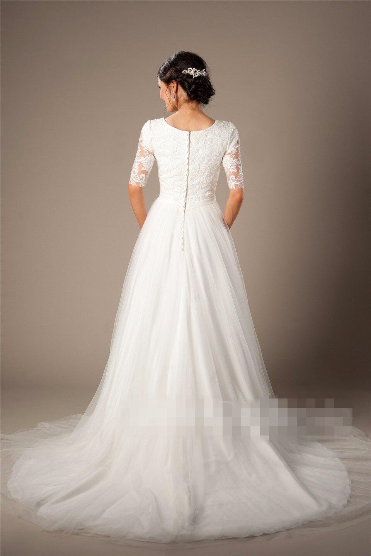 Informelle Coountry Westlichen Modest Brautkleider Mit Halbarm ...