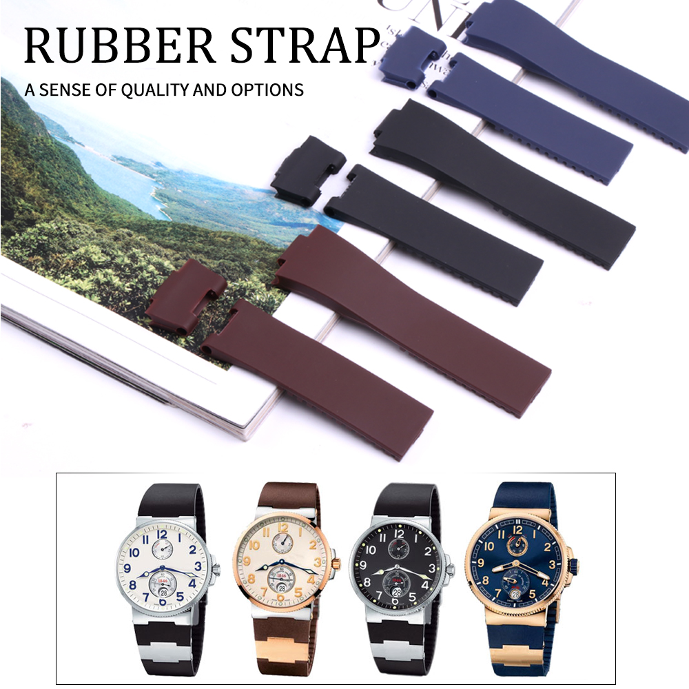25*12mm Wholesale Black Brown Blue Waterproof Silicone Rubber Replacement Wrist Watch Band Strap Belt For Ulysse Nardin Watch25*12mm Wholesale Black Brown Blue Waterproof Silicone Rubber Replacement Wrist Watch Band Strap Belt For Ulysse Nardin Watch