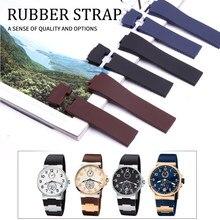 Pulseira de relógio de silicone, 25*12mm, preto, marrom, azul, à prova d' água, borracha de substituição, pulseira de relógio para ulysse nardin relógio de pulso