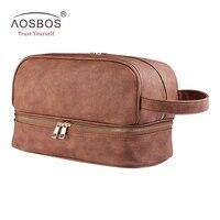 Aosbos Vintage PU Leather Cosmetic Bags Women Portable Travel Toiletry Bag Men Large Makeup Bag High