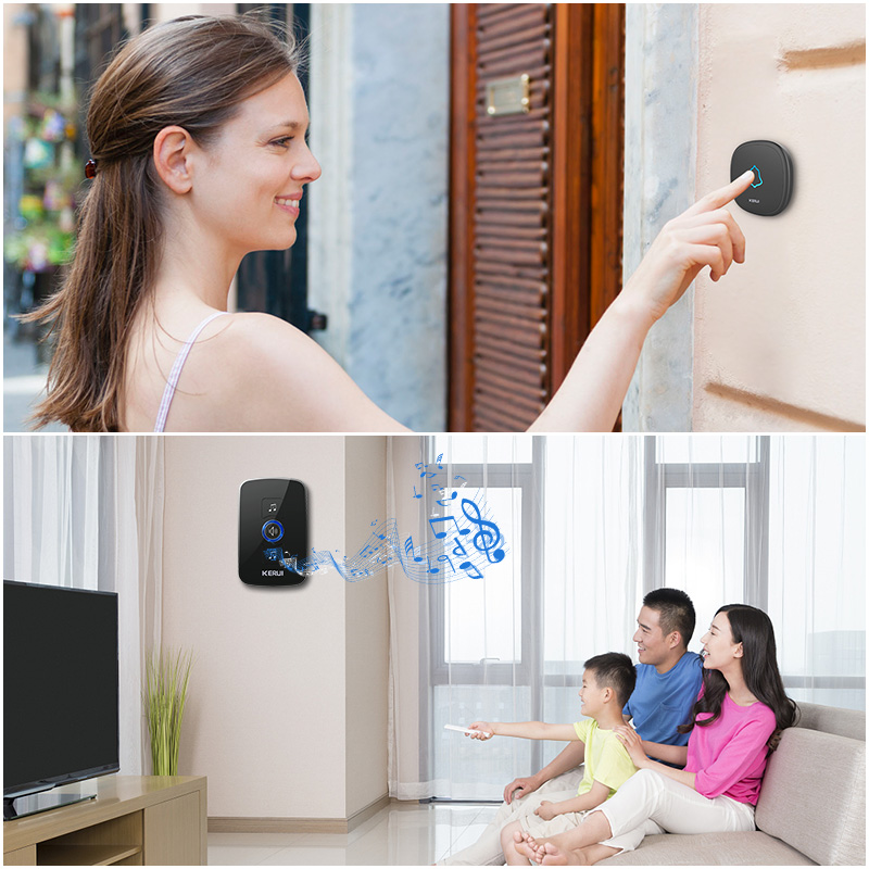 KERUI M525 Wireless Doorbell Home Security Welcome  Smart Chimes Doorbell Alarm LED Light 32 Songs With Waterproof Touch Button