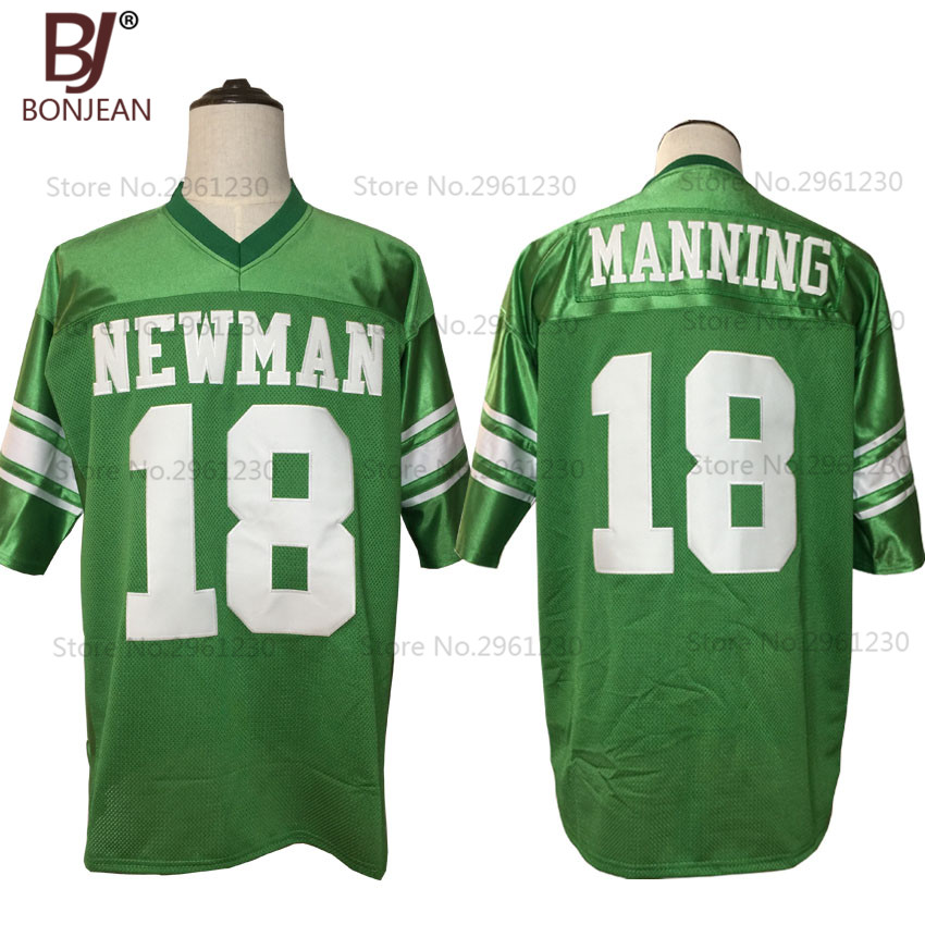 meet 1e022 c5a3d 2017 New Cheap Eli Manning 18 Isidore Newman High School American Football  Jersey Green Throwback Stitched Sewn Mens Shirts-in America Football ...