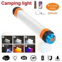 Cree Camping lanterne avec aimant tente lumière Ip68 USB charge extérieure lampe de secours 6 Modes lampe de poche moustique Repellen