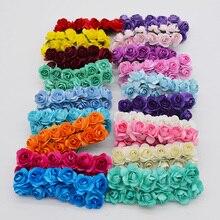 144 шт./лот 2 см Диаметр Мини многоцветный искусственные бумажные розы букет для Свадебная вечеринка поставки украшение дома 85Z