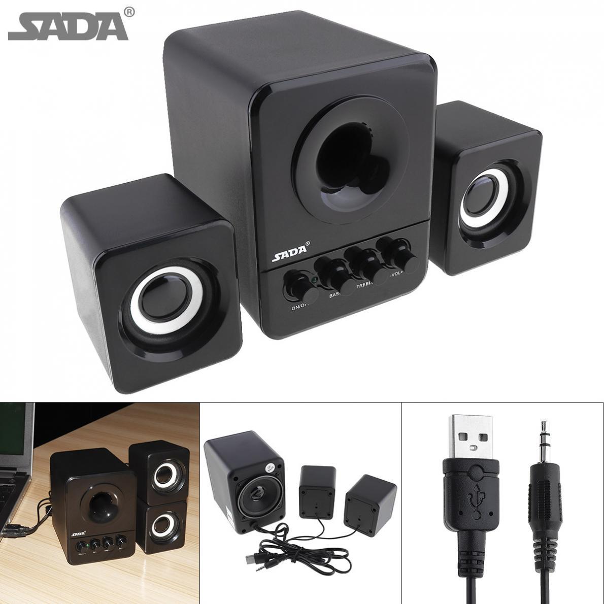SADA Wired Mini Portable Combination Speaker Laptop Computer Mobile Column Computer Speaker USB 2.1 Bass Cannon 3W PC Speakers цены