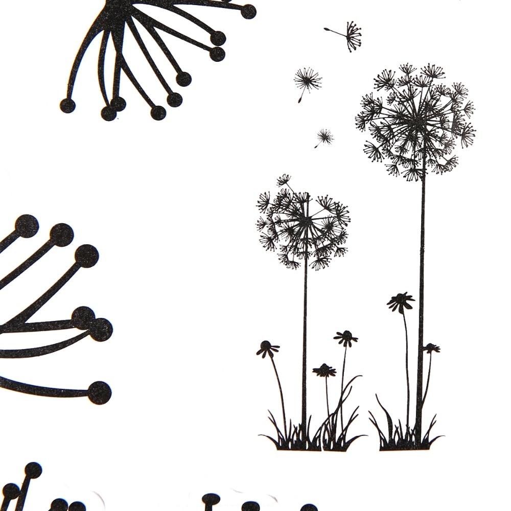 Dandelion Wall Art Dandelion Decor Black White Bedroom: DIY Flying Dandelion Flower Wall Stickers Black Dandelion