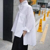 Botton White Blouse Korean Style Anomalistic Women's Shirt Summer Turn down Collar Long Sleeve Tunic Casual Loose Women's Top