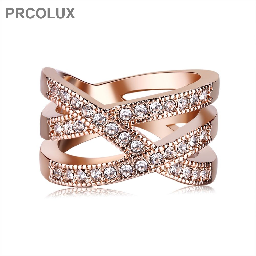 PRCOLUX Classic Grils Wedding Finger Ring Rose Gold Color Rings White Cubic Zirconia Cross Fashion Womens Jewelry Gifts QFA20