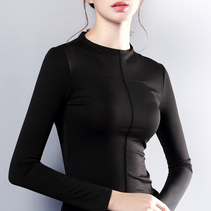 Womens Top Long Sleeve O Neck Tshirt Women All Match Tee Black White T Shirt Women